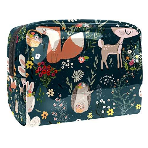 Makeup Bag Flowers animals Travel Makeup Bag Cosmetic Cases Organizer Portable Storage Bag Toiletry Bag 18.5x7.5x13cm