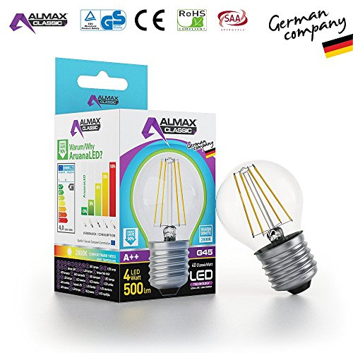 ARUANA LED GMBH INTERNATIONAL 0032 LED Tropfen G45, E27, clear,4W 220-240 V, 500 lm, 2800 K, Weiß, 1