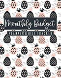 Monthly Budget Planner & Bill Tracker: Cute Black and Blush Pink Pineapple - Home Finance Budgeting and Bill Organizer - 12 Month