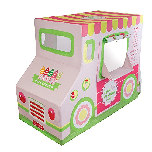 """Pacific Play Tents 67000 Kids Cotton Canvas Ice Cream Truck Playhouse, 50"""" x 26"""" x 39.5"""""""