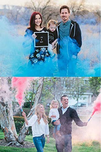 Baby Gender Reveal Party 4 Pack Vibrant Colors | Long Lasting (2 Pink & 2 Blue)