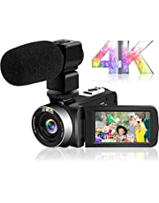 4Kビデオカメラ デジタルビデオカメラ YouTubeカメラ Wi-Fi機能 HD 30FPS 48MP 18倍デジタルズーム デジタル補正 外付けマイク 360°遠隔操作 IR夜視機能 予備バッテリー タッチモニター ウェブカメラ用 タイムラプス撮影 日本語システム+説明書