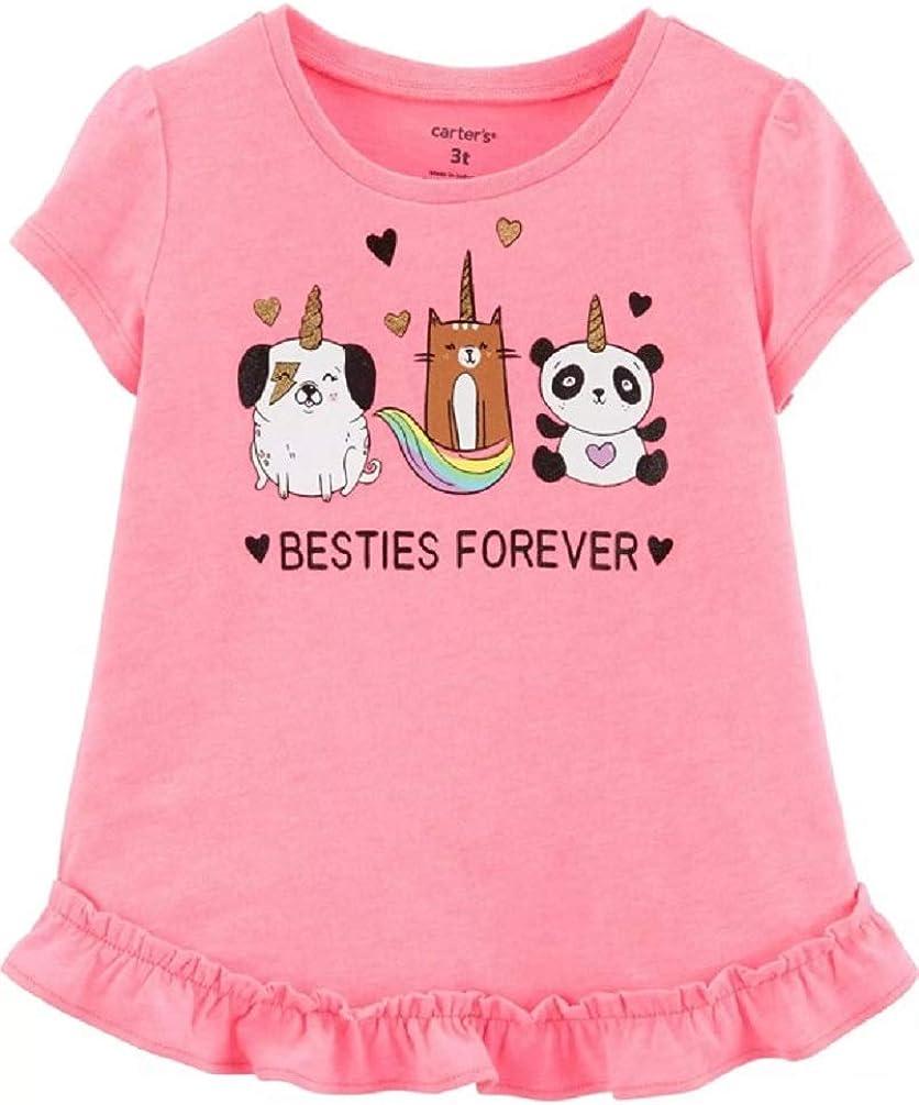 Carter's Girl's Neon Pink Besties Forever Unicorn Friends Tee