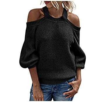 derenzide Womens Cold Shoulder Sweaters Batwing Sleeve Ribbed Loose Oversized Pullover Knit Jumper Slouchy Tunic Tops S-XL Black