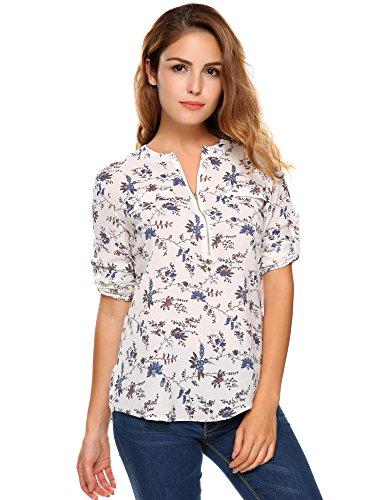 Beyove Damen Vintage Sommer Blumen Bluse Lose T-Shirt Strand Tunika Casual Chiffon Bluse Tops Rundhals,EU 40(Herstellergröße: M),Weiß