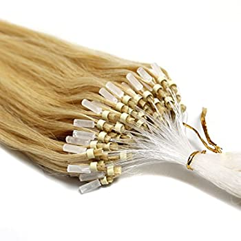 100s 16   18   20   22   24   26   Loops Micro Rings Beads Tipped Remy Human Hair Extensions Straight 10 Colors in Women Beauty Style  16inch 0.4g/s 100s each pake 24 golden blonde