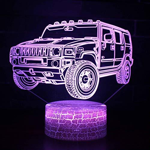 Solo 1 pezzo Hot Fuoristrada Telecomando 3d Lampada notturna 3d Led Colorful 3d Light Fixtures Base bianca Bella lampada 3D con cambio di 7 colori
