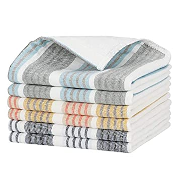 Beasea Farmhouse Kitchen Rags 6pcs Kitchen Towels Cotton Cleaning Cloths 13 x 13 Inch Terry Dish Rags Highly Absorbent Stripe Soft Drying Wash Cloths for Kitchen with Hanging Loop - Mixed Color