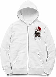 Fox Republic ポケット ブラック サンタ 子ウサギ ホワイト キッズ パーカー シッパー スウェット トレーナー 150cm