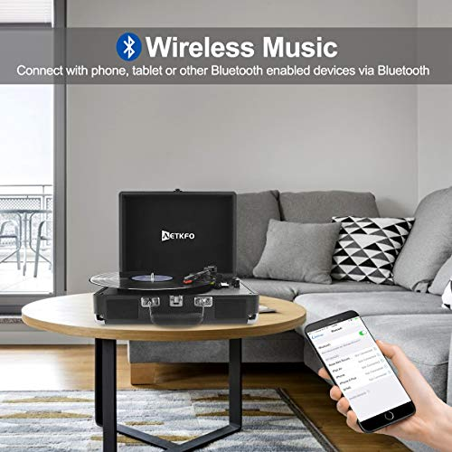 Plattenspieler , AETKFO Bluetooth Plattenspieler 3-Gang Vinyl Plattenspieler mit Lautsprecher, Unterstützung Aufnahme Vinyl, Cinch & USB Ausgang / AUX-In / Kopfhöreranschluss, Koffer Design (schwarz) - 2