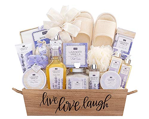 ASpa Gift Basket- Lavender Vanilla Spa Experience Gift Basket For Her Women w/ Body Lotion Body Scrub Shower Gel Body Slippers Micro Fiber Hair Towel & more by Wine Country Gift Baskets