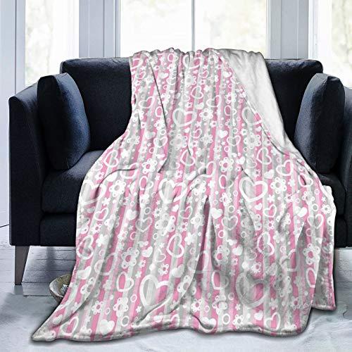 Manta mullida, con diseño de corazones pequeños y flores ornamentales con colorido telón de fondo de dibujos animados, ultra suave, manta para dormitorio, cama, TV, manta de cama de 152 x 127 cm