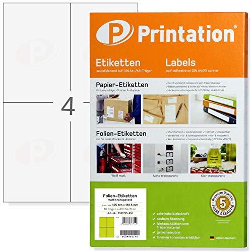 Etichette per pellicola, 105 x 148,5 mm, resistenti alle intemperie, trasparenti, autoadesive, su fogli DIN A4-2 x 2, 10 fogli, 40 etichette adesive da 105x148 con stampante laser stampabili (10)