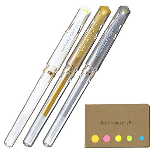 Uni-ball Signo Capped Gel Ink Pen, UM-153, Bold Point 1.0mm, White, Gold, Silver, 3 Colors, Sticky notes Value Set