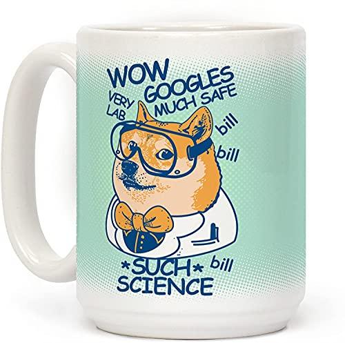 Science Doge - Taza de café de cerámica personalizada de 15 onzas para viajes, oficina, hogar
