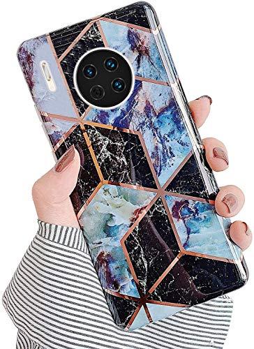 Saceebe Compatible avec Huawei Mate 30 Coque Silicone Motif Dessin Marbre Housse Étui de Protection Girly TPU Gel Souple Lustré Antichoc Ultra Fine Mince Léger Case Cover,Noir Violet