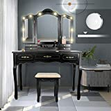ENSTVER Vanity Set with 10 Hollywood LED Light Bulbs,Makeup Table with Stool and Mirror,6 Organization 7 Drawers,Dressing Table for Bedroom,Black