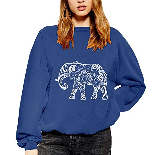 TOPSUPER Elephant & Flower Sweater Winter Fall | Casual Loose Fit Long Sleeve Sweatshirts for Women Blue