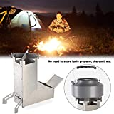 Camping Kocher Campstove Holz Stove Campfire Tragbar Edelstahl Raketeofen Draussen Kochen Herd BBQ Grill für Backpacking, Camping Überlebens Ausrüstung