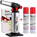 Kitchen Torch With Butane included - Refillable Butane Torch With Safety Lock & Adjustable Flame +...