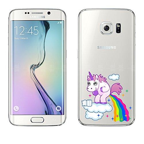 Samsung Custodia di licaso per il Samsung Galaxy S6 Edge di TPU Silicone Unicorno Nuvola Divertente molto sottile protegge il tuo Samsung Galaxy S6 Edge con stile Cover Bumper
