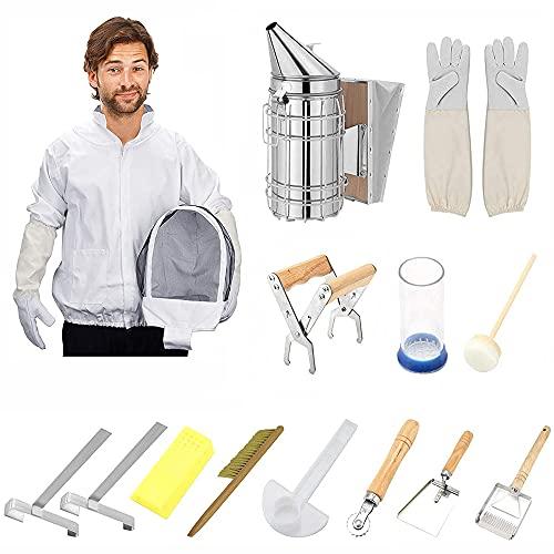 MATHOWAL Apicoltura Tools Kit 12 Pcs Set di Strumenti per Apicoltori Kit di Utensili per Apicoltura Accessori per Apicoltori con Beehive Fumatore, Strumento Apicoltura Professionale e Principianti
