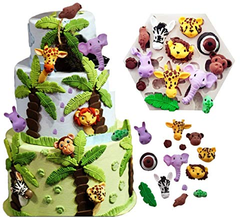 Joinor Löwe Giraffe Affe Safari Tierformen Fondant Silikon Kuchen Dekorieren Werkzeug Schokolade Gumpaste Form Zuckerguss Küche Gadget