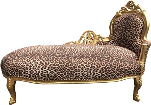 Casa Padrino Barock Chaiselongue King Leopard/Gold - Möbel Liege Recamiere