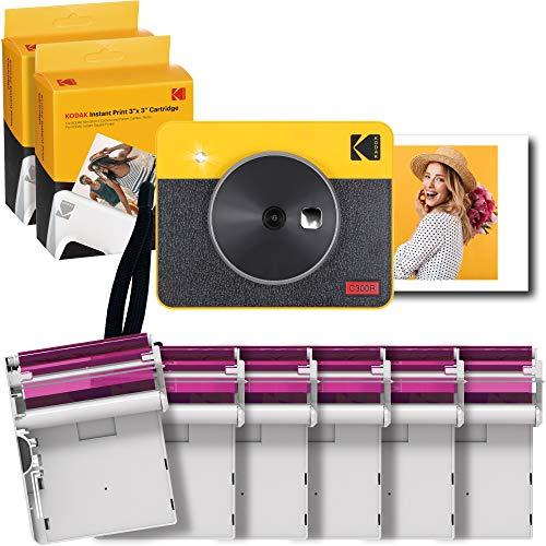 Kodak Mini Shot Combo 2 Retro, 76x76 mm, Bluetooth, Sofortbildkamera & Drucker + 68 Blatt, 6 Druckerpatronen, 4Pass-Technologie, Gelb