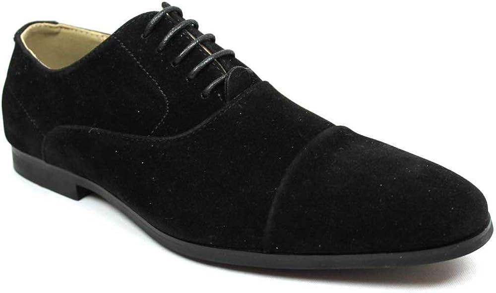 Men's Cap Toe Black Suede Dress Shoes Lace up Oxfords by Azar