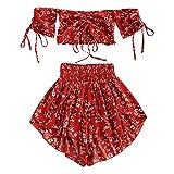 Zaful - Completo da donna a maniche corte, a spalle scoperte, con top e pantaloncini a vita alta, motivo floreale, estivo Colore: rosso L