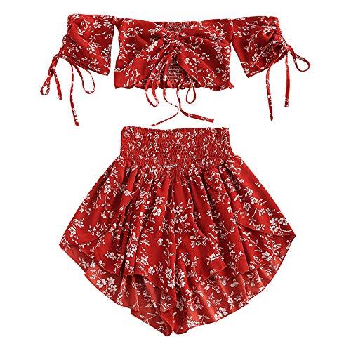 ZAFUL Schulterfreies Cinched Floral Damen-Set mit kurzen Ärmeln Oberteil/Breiten hohe Taille Hosen Blumenmuster gesmokte Shorts Suit Sommer (Rot-S)