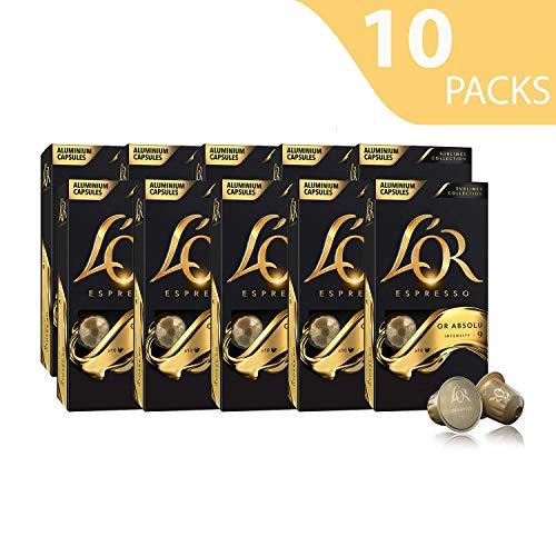 L\'OR Espresso Kaffee Or Absolu Intensität 9 - Nespresso®* kompatible Kaffeekapseln aus Aluminium - 10 Packungen mit 10 Kapseln (100 Getränke)
