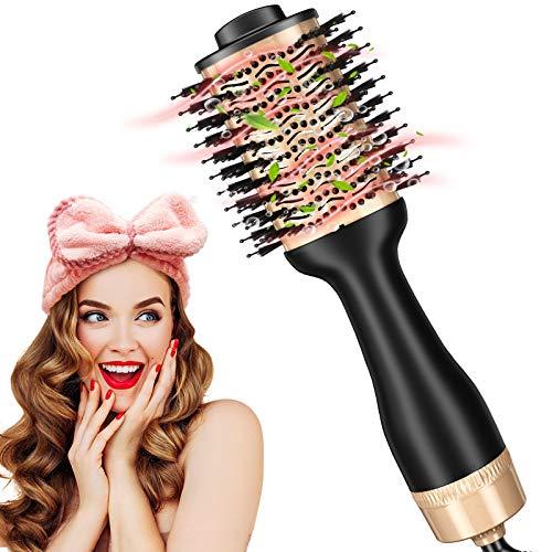 StayGold Cepillo de aire caliente multifunción, actualización negativa Lonic Hair Dryer, colokation, 1 paquete de cinta supersuave de franela, pelo liso y rizado y peinado más rápido.