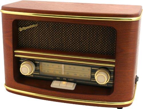 Roadstar HRA-1500N Nostalgie-Radio mit Echtholz-Gehäuse (UKW und MW Tuner, 12 Watt Musikleistung, Batteriebetrieb), braun