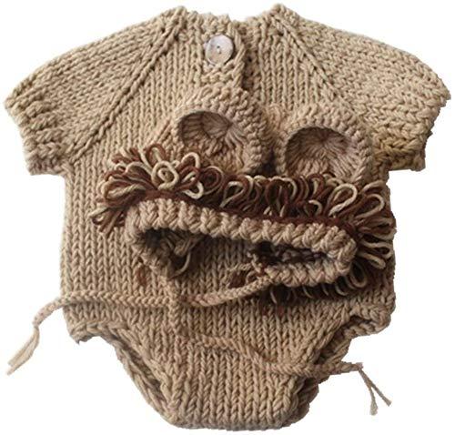 Aoyo Estilo de Dibujos Animados Transpirable de Tejer Sombrero de Lana Traje Ropa recién Nacidos Fotografía Conjuntos de Ropa (Color : Khaki, Size : 32 * 30cm)