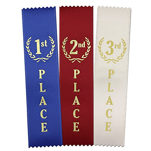 1st - 2nd -3rd Place Quality Award Ribbons 150 Count Value Bundle – 50 Each Blue, Red, White – Made in The USA