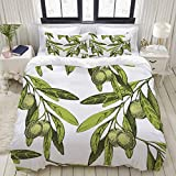 Juego de cama, microfibra, Comer aceitunas de oliva Nature Up Food Vegetable Drink Drawn Floral Design Fashioned Healthy Pattern,1 juego de funda nórdica 240 x 260 cm+2 fundas de almohada 50x80cm