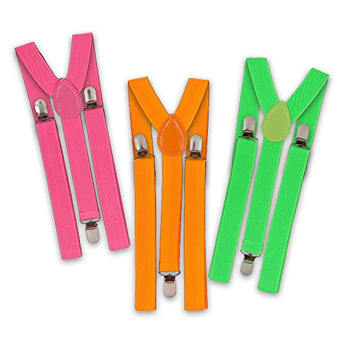 EVENTLIGHTS Neon Hosenträger Set - grün, orange, pink - Schwarzlicht Party - UV Schwarzlicht Leuchteffekt