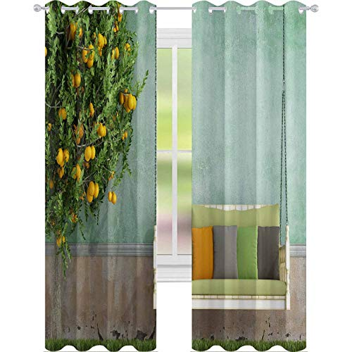YUAZHOQI Curtains for Living Room Vintage Wooden Swing in The Garden of an Old House Rendering 52' x 72' Noise Reducing Curtain