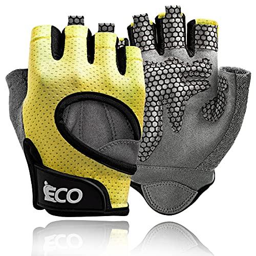 Guanti da allenamento Uomo Donna Guanti da palestra per sollevamento pesi Protezione completa del palmo delle dita per Crossfit, Fitness, Allenamento, Ciclismo (Small, Giallo)