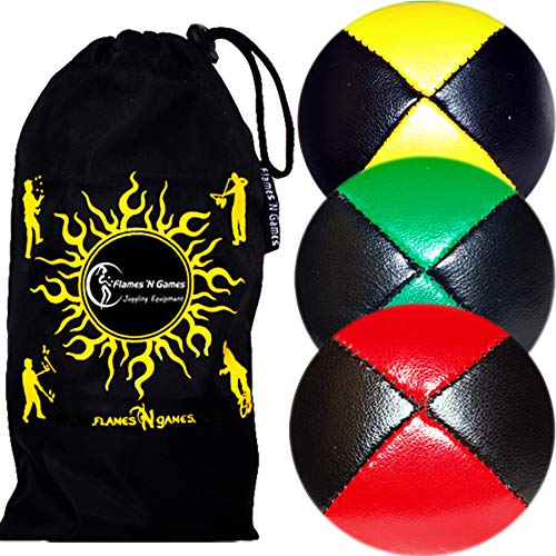 3X Balles de Jonglage Thud en Cuir Super Durable (Leather) Pro Jonglerie Beanbag Jonglage Balles + Sac de Voyage. (Noir-Rouge/Vert/Jaune)