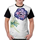 AZXGGV Man'S T Shirts,Branch of Garden Flower with Watercolor Splashes Nature Inspired XXX-L