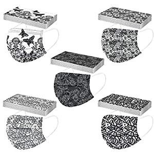 Cute Leopard Print Disposable_Masks for Adult,3 Layer Protection Leopard Printed Facemasks with Nose Wire,Breathable Comfortable Lightweight Face_Covers for Home School Office