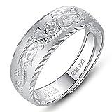 Fenfen Ring 999 Silber Herrenring Sterling Silber Dragon Totem Ring einstellbar Schmuck