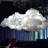 INJUICY Moderne Led Edison Nuage Lampe Suspensions Lustre Plafonniers en Coton Eclairage de Plafond pour Café Salle à Manger Salon Fille Chambres D'enfants et de Restaurant (Diamètre 600 mm)