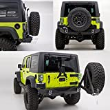 Restyling Factory -Heavy Duty Rock Crawler Rear Bumper with Tire Carrier and 2' Hitch Receiver-Textured Black for 07-17 Jeep Wrangler JK