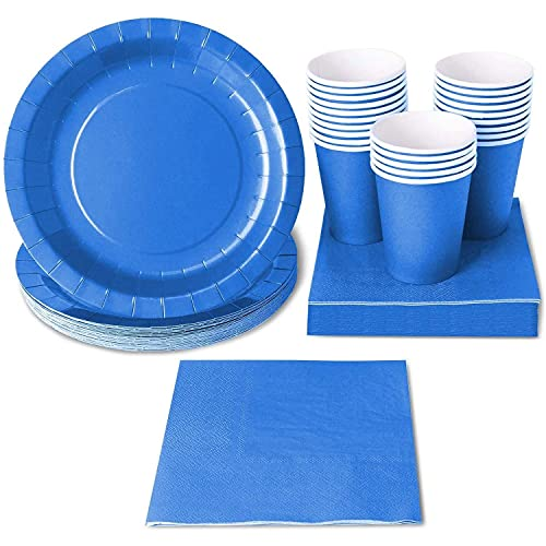 Set di Stoviglie Usa e Getta - Blu Acceso - (Per 24 Ospiti) - Include Piatti di Carta, Tovaglioli e Bicchieri di Carta