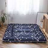 Navy Floral Printed Japanese Floor Mattress Rustic Style Memory Foam Futon Mattress Foldable Bed Roll Up Camping Mattress Floor Lounger Bed Couches and Sofas 4 Inch Mattress Topper Queen Size