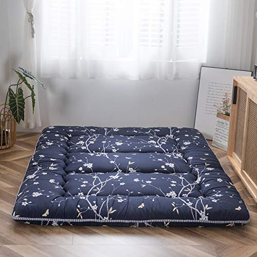 Navy Floral Printed Japanese Floor Mattress Rustic Style Memory Foam Futon Mattress Foldable Bed Roll Up Camping Mattress Floor Lounger Bed Couches and Sofas 4 Inch Mattress Topper Twin Size